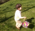 Will finds a basket of eggs on Easter Sunday, 2011