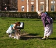 Margaret and her grandmother find some Easter eggs on the church lawn.