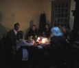 The rainy evening meant the picnic was enjoyed by candlelight in the farm house.